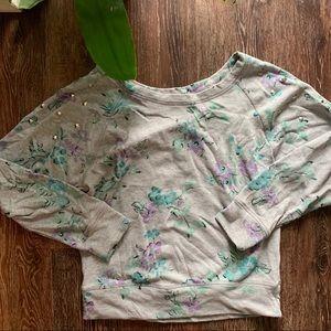 NOLLIE wide neck floral studded sweater Sz S